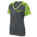 Storm Ladies CamoHex V-Neck Lime